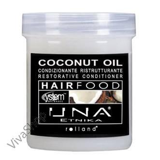 UNA Hair Food Coconut Oil Масло кокоса Маска для восстановления структуры волос с маслом Кокоса, Оливковым и растительными 1000 мл Rolland